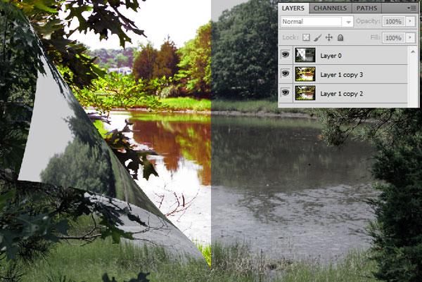 Как создать эффект изменения пейзажа
