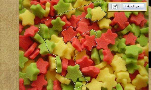 Текстовый эффект в виде конфет-звездочек