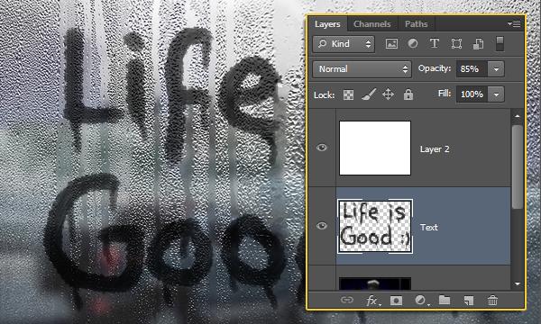 Текст на влажном запотевшем стекле