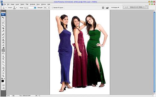 Эффект цветных фрагментов на черно-белой фотографии