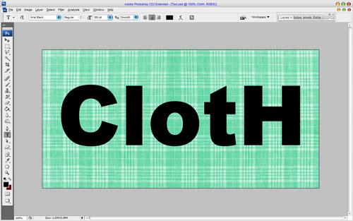 Эффект ткани для текста