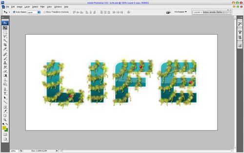 Создание декоративного оформления текста смешением двух стилей